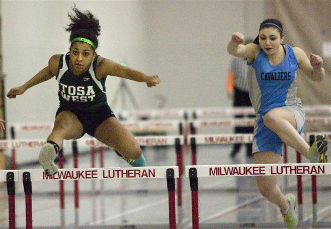 Wauwatosa West sophomore Brianna Horton (left) won the 55-meter high hurdles (10.12 seconds) at the Chris Wilson Invitational on Saturday at Milwaukee Lutheran.