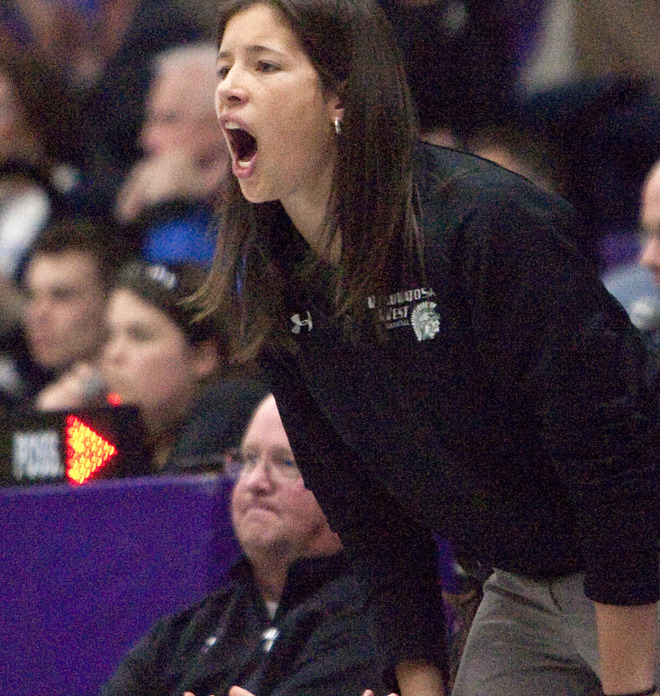 Ashley Imperiale shouts to Wauwatosa West players during her stint as a co-coach last season.